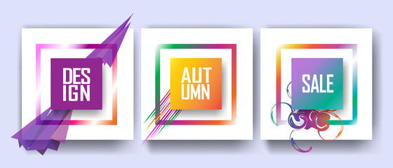 Sale banners set, abstract geometric design with dynamic shapes, frame. Concept poster, flyer, brochure, covers vector template.