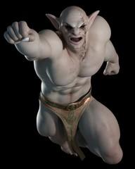 Goblin or troll fighting champion - fantasy illustration