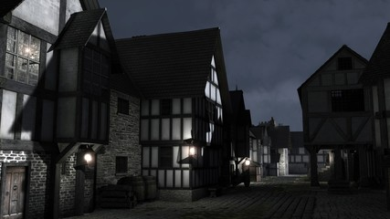 Fotomurales - Illustration of a Medieval Town Street at Night