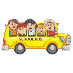 Keuken foto achterwand Kinderkamer Children go to school by bus cartoon