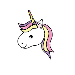 cute unicorn head with horn and hairstyle