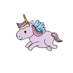 cute unicorn with horn and wings design