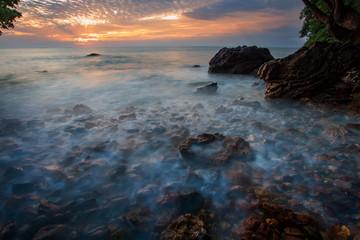 beautiful sea scape and sun rising sky background