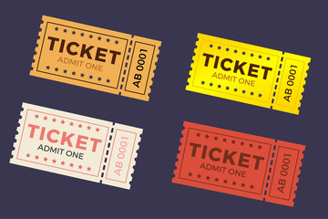 Ticket illustration in the flat style. Ticket stub isolated on a background. Retro cinema or movie tickets.