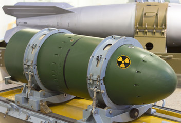 The nuclear warhead on the stand. Weapons of mass destruction. bomb.