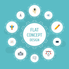 Flat Icons Pen, Idea, Gadget And Other Vector Elements. Set Of Original Flat Icons Symbols Also Includes Pen, Idea, Gadget Objects.