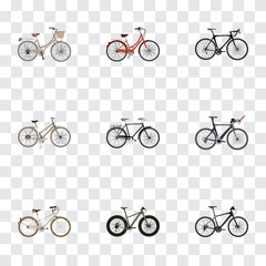Realistic Fashionable, Old, Competition Bicycle And Other Vector Elements. Set Of Bicycle Realistic Symbols Also Includes Hybrid, Triathlon, Retro Objects.