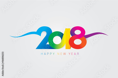 vector 2018 happy new year design with text on white background