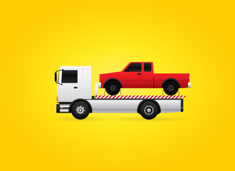 Flatbed tow truck carries the assistance car. Vector illustration