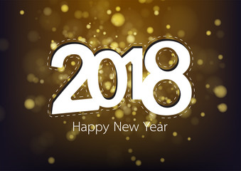 Happy new year 2018 with gold bokeh. Vector illustration