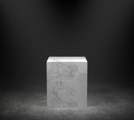 Empty marble podium on concrete floor with spotlight background. 3D rendering.