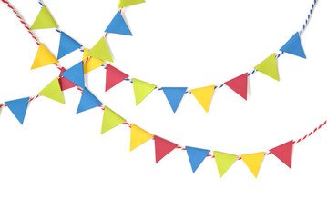 Colorful bunting paper cut on white background - isolated