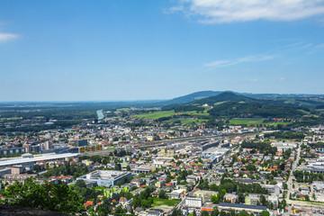 Top view of Salzburg, a famous tourist city in Austria