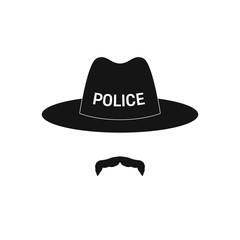 Sheriff avatar. Mustachioed policeman in hat. Vector illustration.
