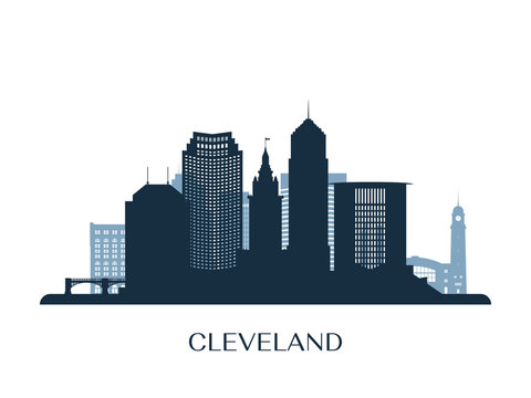 Cleveland skyline, monochrome silhouette. Vector illustration.