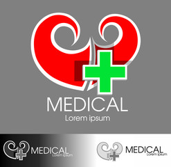 logo heart and a cross(for medical centre or pharmacy)