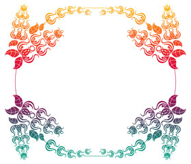 Beautiful gradient round frame. Color silhouette frame for advertisements, wedding and other invitations or greeting cards. Raster clip art.