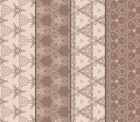 set of design seamless pattern with creative geometric ornament. vector illustration. coffee color