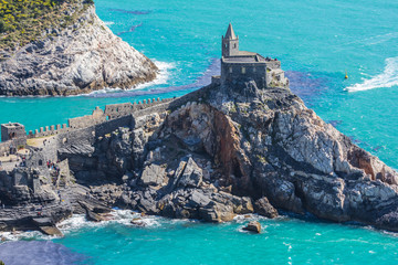 Gothic church of St. Peter in Portovenere Italy, view from the water Fototapete