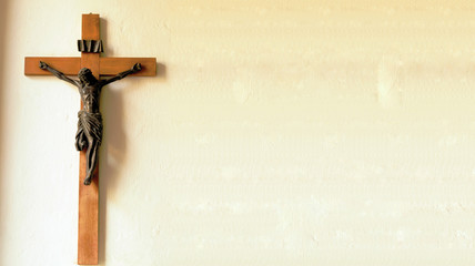 Crucifix on wall of old church