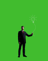 Businessman standing over chroma key background. Business, career job concept.