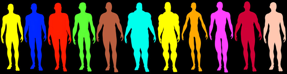 Multicolored collection of male people, 3d rendering as flat 2d ink, cartoon shapes