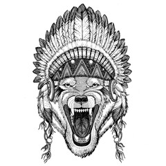 Wolf Dog Wild animal Hand drawn illustration for tattoo, emblem,
