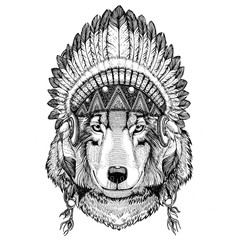 Wolf Dog Wild animal wearing indian hat Headdress with feathers Boho ethnic image Tribal illustraton