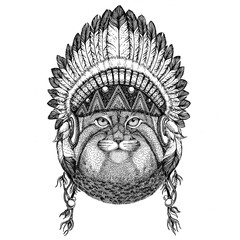 Wild cat Manul Wild animal wearing indian hat Headdress with feathers Boho ethnic image Tribal illustraton