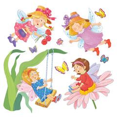 Seamless pattern.  Four cute little fairies. Wallpaper.