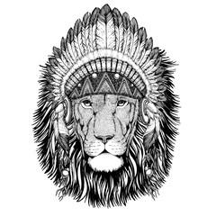 Wild Lion Wild animal wearing indian hat Headdress with feathers Boho ethnic image Tribal illustraton