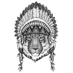 Wild cat Leopard Cat-o'-mountain Panther Wild animal wearing indian hat Headdress with feathers Boho ethnic image Tribal illustraton