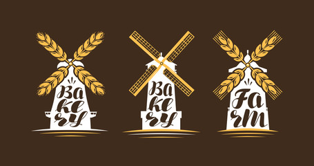 Farm, bakery logo or label. Windmill, mill icon. Lettering, calligraphy vector illustration