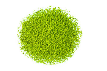 matcha green tea powder on white background