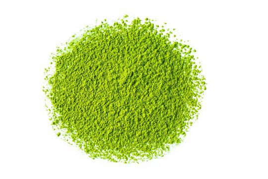 matcha green tea powder on white background