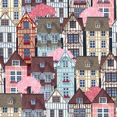 Old town seamless pattern