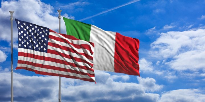 Italy and America waving flags on blue sky. 3d illustration