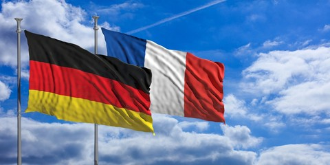 France and  Germany waving flags on blue sky. 3d illustration