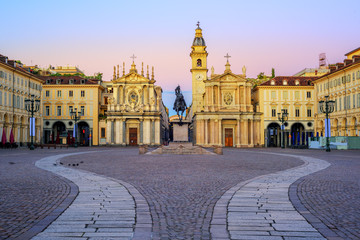 Piazza San Carlo and twin churches in the city center of Turin, Italy