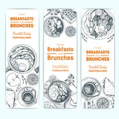Breakfast and brunches vintage design template. Vertical banners set. Vector illustration hand drawn, linear art. Hand drawn sketch. Food menu design. Engraved image