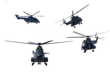 Vier militaire helikopters die demonstraties geven