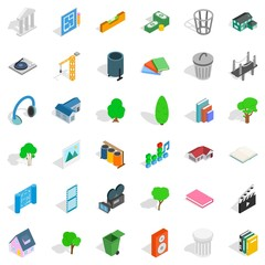 House icons set, isometric style