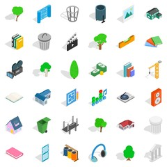 House thing icons set, isometric style
