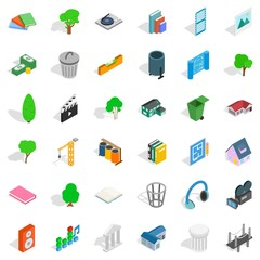 House in park icons set, isometric style