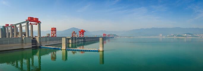 Photo sur Toile Barrage Panorama vom Drei-Schluchten-Staudamm, China