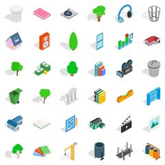 House in city icons set, isometric style