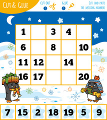 Education numbers game for children, Winter theme.