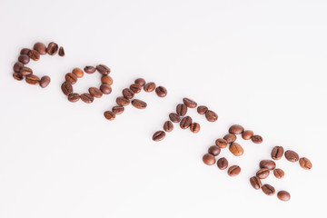 Text coffee made from coffee beans