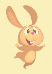 Cartoon cute bunny rabbit dancing excited. Flat Bright Color Simplified Vector Illustration In Fun Cartoon Style Design