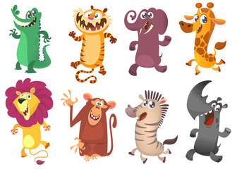 Cartoon tropical  animal set.  Set of cartoon animals vector illustration. Crocodile alligator, tiger, elephant, giraffe, lion, monkey chimpanzee, zebra and rhino